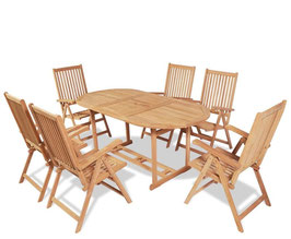 Set in teak bourgogne