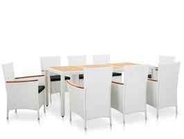 Tavolo + 8 sedie rattan bianco/acacia