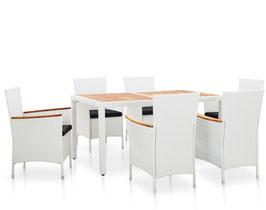 Tavolo piano acacia + 6 sedie rattan bianco