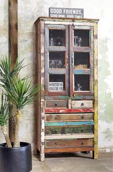 Armadio a vetro in legno riciclato con 5 cassetti e 2 sportelli
