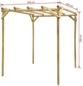 Gazebo legno trattato 2x2 m