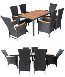 Tavolo piano acacia 6 sedie alte