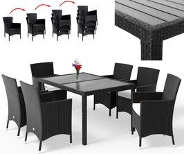 Tavolo piano WPC + 6 sedie impilabili