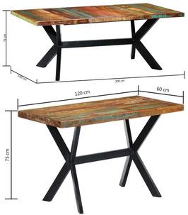 Tavolo industrial a croce legno riciclato