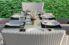 Tavolo 150 cm + 6 sedie rattan