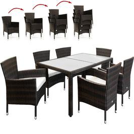 Tavolo 150+6 sedie impilabili rattan caffè