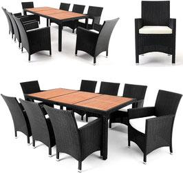 Tavolo con piano acacia + 8 poltroncine
