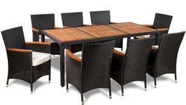 Tavolo + 8 sedie rattan piano in acacia
