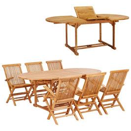 Tavolo ovale teak + 6 sedie