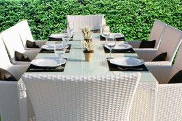 Tavolo + 8 sedie rattan Bianco