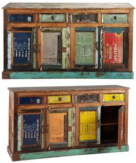 Credenza legno riciclato 4 cassetti 4 sportelli