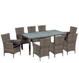 Tavolo + 8 sedie rattan  Grigio