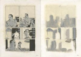 """Planches originales de mise au gris du roman graphique """"Suite française"""""""