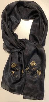 Schwarzer Seidenschal 175 x 45 cm