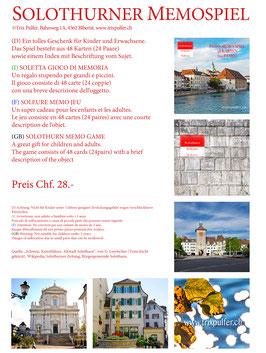 Solothurner Memospiel In vier Sprachen deutsch, Italienisch, Französisch, Englisch.