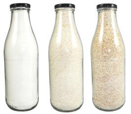 Dinkelprodukte in der Flasche