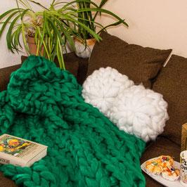 Grobstrick Decke Grün