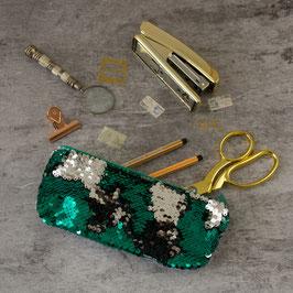 Mäppchen Pailletten grün/silber