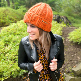 Grobstrick Mütze orange