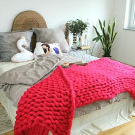 Grobstrick Decke Hot Pink