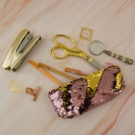 Mäppchen Pailletten rosa/gold