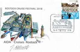Ersttagsbrief (Ganzsache) anläßlich des 1. Rostock Cruises Festivals 2018