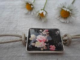 Bracelet cabochon de 25 mm, rose ancienne