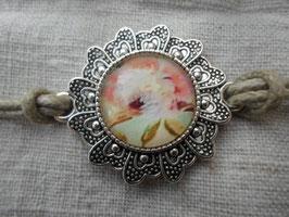 """Bracelet cabochon de 20mm """"crème et rose"""""""