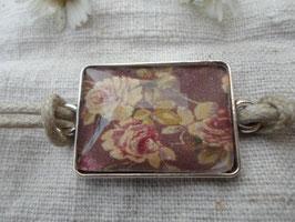 """Bracelet cabochon carré 25 mm, """"fleur ancienne"""""""