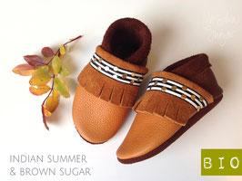 """Krabbelschuhe """"BOHO MIT FRANSEN"""" in indian summer & brown sugar"""