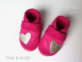 """Krabbelschuhe """"HERZ"""" in pink, Sohle nude"""