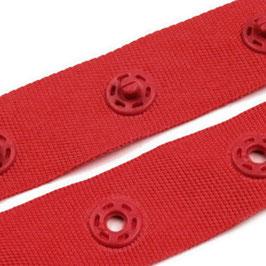 Druckknopfband 18mm rot, runde Snaps