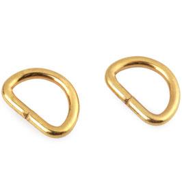 D-Ring 15mm Durchzug Gold