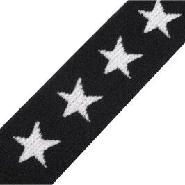 Gummiband 'Sterne' 20mm schwarz