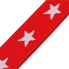 Gummiband 'Sterne' 20 mm rot