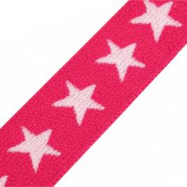 Gummiband 'Sterne' 20 mm sangria