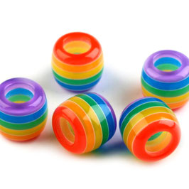 Großlochperlen 10*12mm multicolor