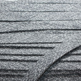 Flachkordel/Hoodieband 14mm dunkelgrau meliert
