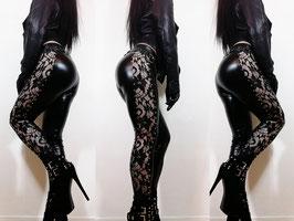 Black Wetlook Leggings with Lace #3/1