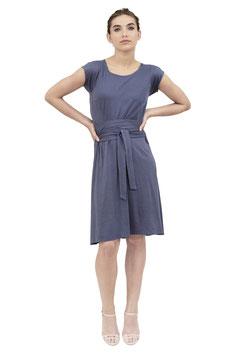 S1914 J, Jerseykleid zum Binden Kurzarm, Jersey uni blau
