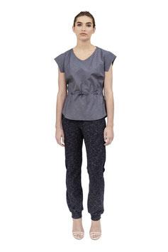S1925 A, V-Bluse zum Binden Kurzarm, Cotton blue