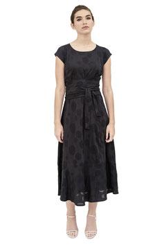 S1916 N, Jerseykleid zum Binden Kurzarm lang, Jersey Punkte schwarz