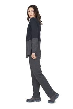W2021 SD Sweatpullover mit Blusenärmel // Sweatjersey schwarz / Streifen grau, Gr. 34