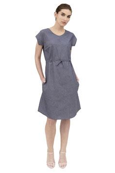 S1909 A, Kleid zum Binden HM Webkante, Cotton blue