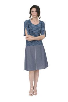 S1833 Shirt Geschlitzter Arm Melange