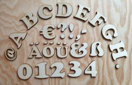 Buchstaben, Zahlen und Zeichen aus Holz - 5 cm