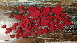 Streudeko 125 Teile - Rote Herzen aus Filz