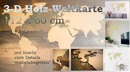 3-D Holz-Weltkarte