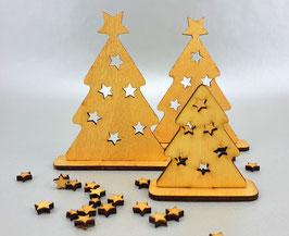 Design Weihnachtsbäume gold lasiert 3er Set