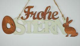 Aufhänger Schild Schriftzug  FROHE OSTERN Holz